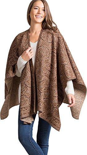 Overland Sheepskin Co Manu Reversible Peruvian Baby Alpaca Wool Ruana Shawl Baby Alpaca Jacket