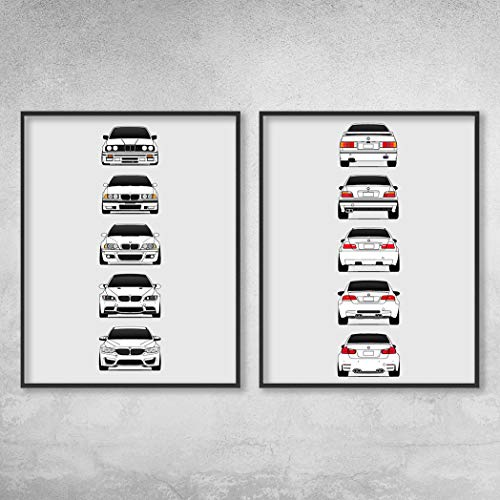 (BMW M3 Poster Print Wall Art of the History and Evolution of the M3 Generations (BMW Car Models: E30, E36, E46, E92, F80): Front and Rear Set)