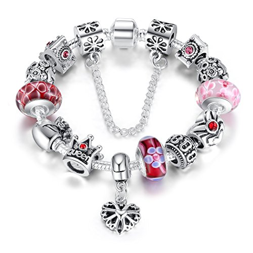 Bamoer Queen European Style Pink and Red Snow Flower Murano Glass Bead Love Heart Dangle Charm Bracelet Jewelry Gift for Women Girs 7.8Inch