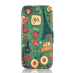 ZXSPACE Paris Tower and Car Pattern PU Leather Full Body Protective Case with Stand for iPhone 5/5S