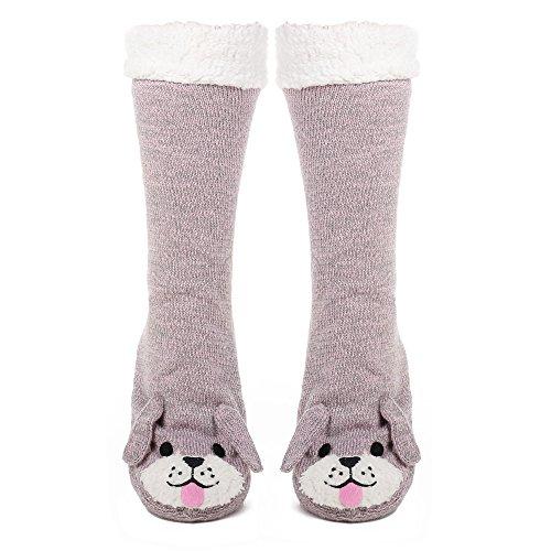 Noble Mount Perro Calcetines Zapatillas de Casa para Mujer Burdeo/Negro