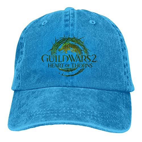 Kemeicle Unisex Guild Wars 2 Heart of Thorns Hat Adjustable Washed Baseball Caps Snapback Blue