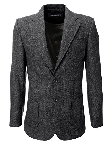 FLATSEVEN Mens Herringbone Wool Blazer Jacket With Elbow Patches (BJ902) Grey, L (Sport Coats With Elbow Patches)