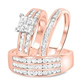 2heart 1 2/3 Carat T.W. Diamond Engagement Ring Wedding Trio Set In Solid 14K Rose Gold Over