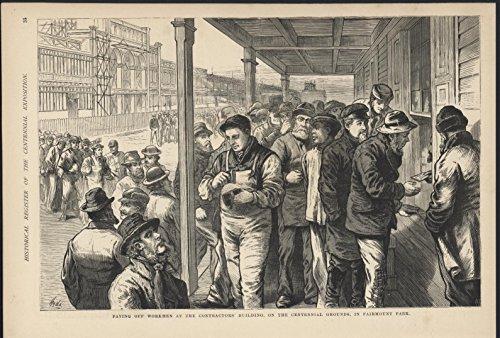 Paying Workmen Contractors Fairmount Park Centennial 1876 antique wood - Engraving 1876 Antique