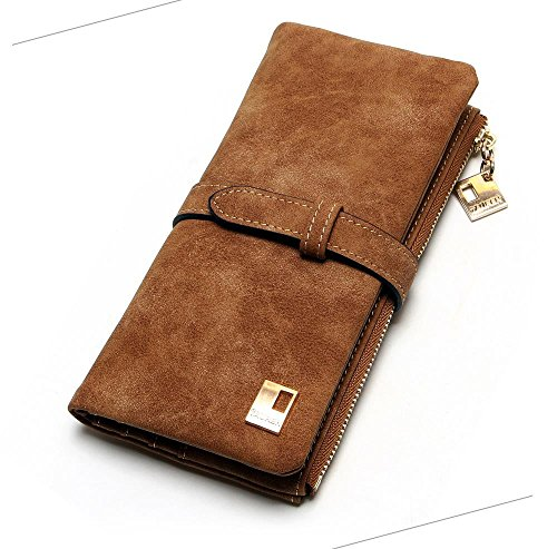 (Faux Suede Zippered Wallet (Tan) )
