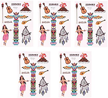 Amosfun 5 Hojas por Paquete Tatuajes temporales Hawaianos Tatuajes ...