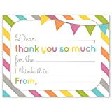Fill in the Blank Thank You Cards, Kids Birthday or Any Occasion Note Card, 4.25 X 5.5 Inches, Pack of 15