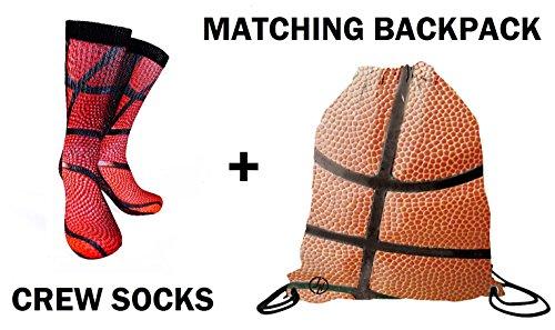 Forever Fanatics Ultimate Basketball Fan Gift Set Bundle ✓ Basketball Crew Socks Sizes 6-13 ✓ Matching Basketball Drawstring Backpack Gym Bag (Size 6-13, Basketball Gift (Player Gift Set)