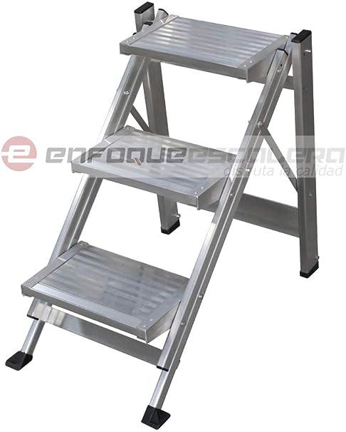 KTL Taburete-Escalera Industrial de Aluminio Plegable 3 peldaños sin barandilla Serie k-Fold: Amazon.es: Hogar