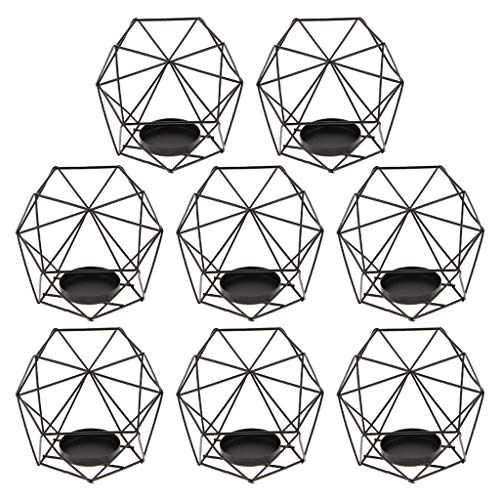 Black Light Centerpieces - Flameer 8-Set Geometric Polished Tealight Candle