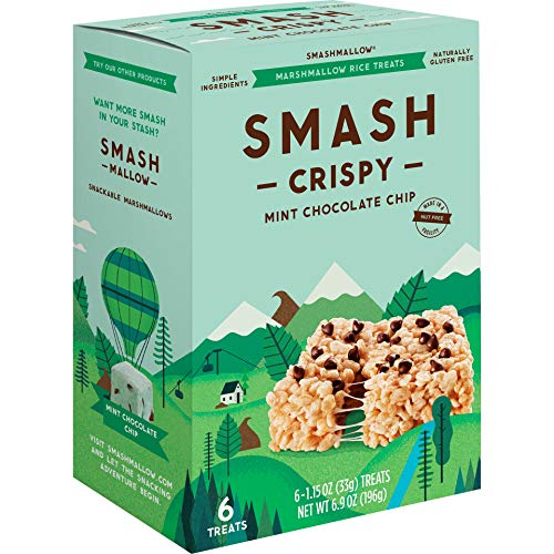 Mint Chocolate Chip Crispy by SMASHMALLOW | Marshmallow Rice Treats | Non-GMO | Organic Cane Sugar | Gluten-free (Pack of 6)