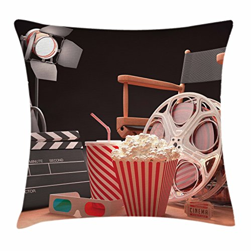 Ambesonne Movie Theater Throw Pillow Cushion Cover, Objects of the Film Industry Hollywood Motion Picture Cinematography Concept, Decorative Square Accent Pillow Case, 18 X 18 Inches, Multicolor