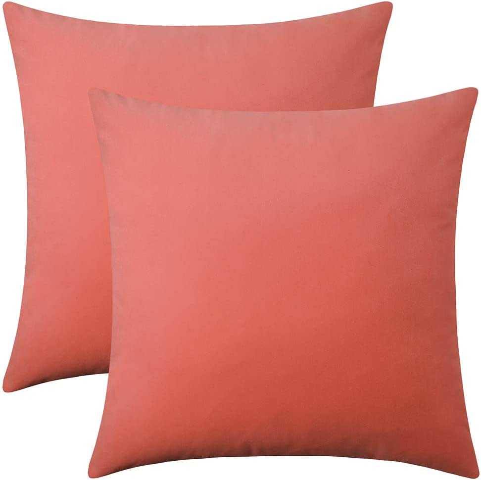 """Artcest Set of 2 Decorative Square Velvet Throw Pillow Cases for Bedroom and Sofa, Soft Solid Cushion Covers for Couch and Car, 20""""x20"""" (Coral)"""