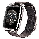 Smart Watches Best Deals - AIWatch Pantalla táctil Z50 Smart Watch Bluetooth 3.0 teléfono inteligente reloj 0.3mp Cámara Pedometer Sedentary Recordatorio SYNC Reloj con TF / tarjeta SIM Para IOS y Android Smartphone Ver (Negro)