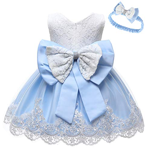 LZH Baby Girls Formal Dress Bowknot Baptism Embroidery Tutu Dress with Headwear(8348-Light Blue,6M/3-6 Months)