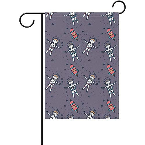 - Little Astronauts Pattern Double Sided Polyester Garden Flags Flag Banner 12x18 Inches Welcome Yard Flag Holiday Outdoor Indoor Flag