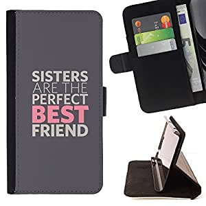 For HTC One M7 SISTERS ARE THE BEST FRIENDS Style PU Leather Case Wallet Flip Stand Flap Closure Cover