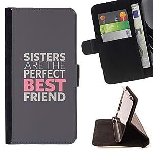 BullDog Case - FOR/Samsung Galaxy Note 3 III / - / SISTERS ARE THE BEST FRIENDS /- Monedero de cuero de la PU Llevar cubierta de la caja con el ID Credit Card Slots Flip funda de cuer