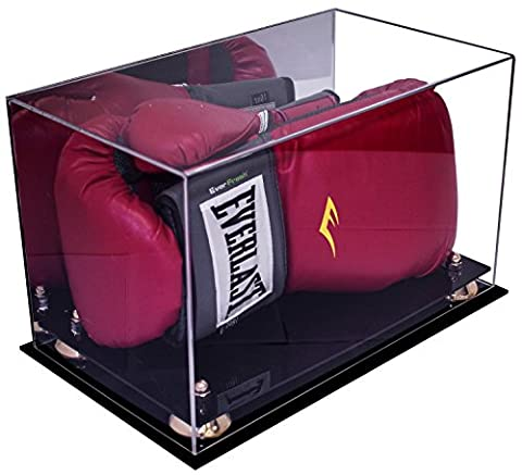 Deluxe Acrylic Single or Double Boxing Glove Display Case with Gold Risers and Mirror (A011-GR) - Large Display Case