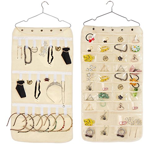 Welltop Jewelry Hanging Organizer Earrings Necklace Bracelet Jewelry Organizers 40 Pockets 20 Loops Removable Hanger Jewelry Storage Bag for Door Wall (Button Hanging Earrings)