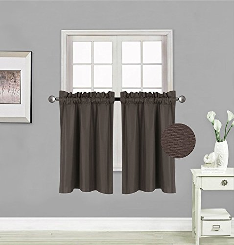 "Fancy Collection 2 Panel Blackout Curtains Draperies Thermal Insulated Solid Brown/Coffee Rod Pocket Top Drapes Each Panel is 27"" W X 36"" L for Kid's Room, Bathroom, Kitchen New"