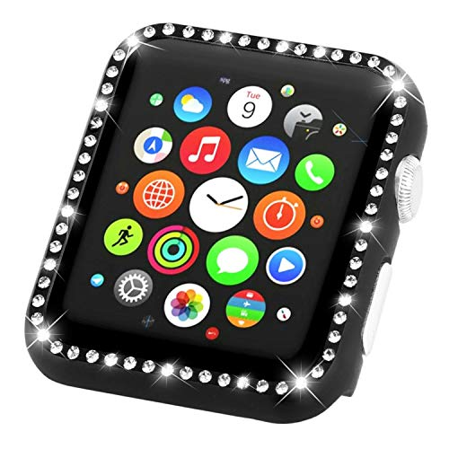 Leotop Compatible with Apple Watch Case Series 4 40mm 44mm, Metal Bumper Protective Cover Bling Shiny Frame Rhinestone Glitter Diamond Compatible iWatch for Women Girls (Diamond Black, 44mm)