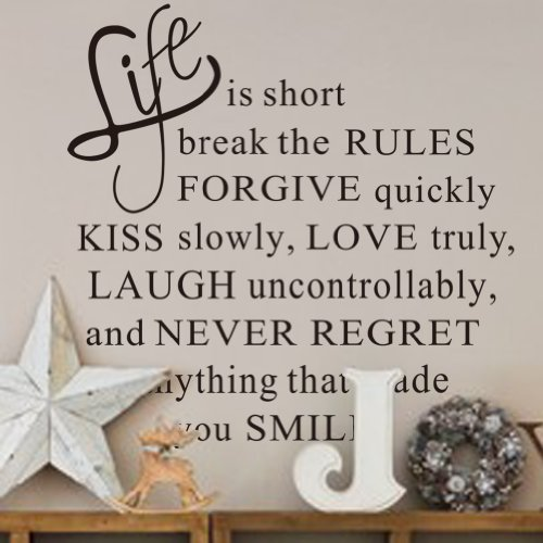 Vinyl Removable Life is Short Words Quotes Art Wall Stickers - 7