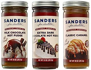 product image for Sanders Assortment Milk Chocolate Hot Fudge, Classic Caramel and Extra Dark Chocolate Hot Fudge Dessert Topping 10 Oz (Pack of 3)