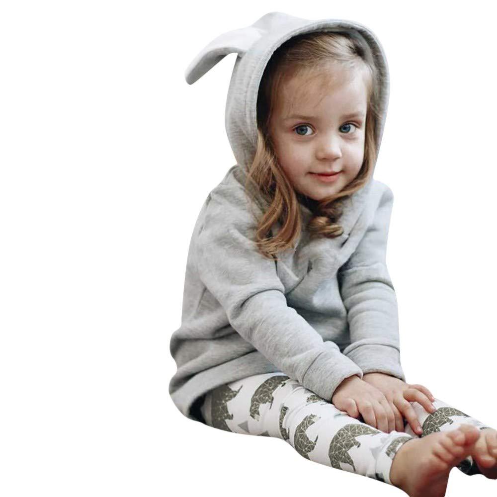 Selou Junge Mädchen Cartoon-Häschenohren Kapuzen-Sweatshirt Oben Grauer Hoodie WinterjackeJacke Mantel Oben Parker Lange Ärmel Dicker Pullover Stilvolles süßes Shirt Rock