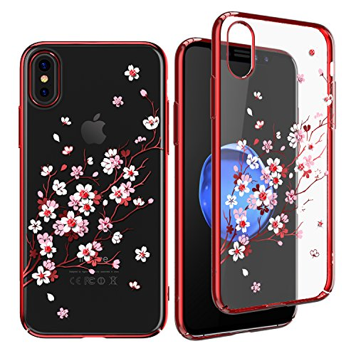 KINGXBAR for iPhone X Case,Crystals from Swarovski Element,Slim Fit Bling Diamond Girls Cover Case for Apple iPhone ()