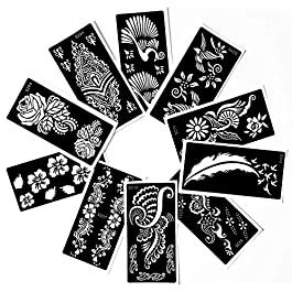 Tattoo Stencil (10 Sheet) Henna Designs Temporary Tattoo / Self-Adhesive – Template