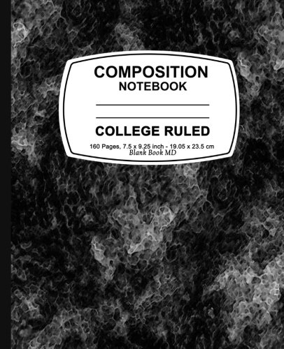 Composition Notebook: Black Marble,College Ruled, Lined Composition Notebook, 7.5 x 9.25, 160 Pages For for School / Teacher / Office / Student Composition Book