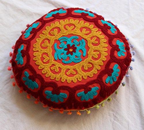 HANDICRAFTOFPINKCITY 40,64 cm redondo de la funda de cojín de algodón indio de Suzani thaikissen funda de almohada decorativa