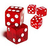 19mm D6 Six-Sided Gaming Transparent Casino Dice (Red Square, 5pcs)