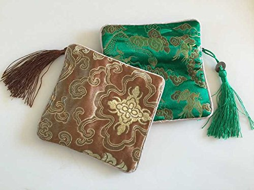 Alsomtec Chinese Traditional Brocade Pouch,coin Purses,embroidery Pouch,jewelry Bag (Set of 4,bottle Green & Coffee)