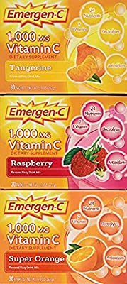 Emergen-C (60 Count, Tangerine Flavor, 2 Month Supply) Dietary Supplement Drink Mix with 1,000mg Vitamin C, 0.33 Ounce Packets, Caffeine Free