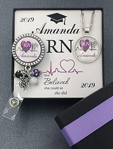 Personalized nurse badge reel, Silver RN necklace, Graduation Gift Set RN/LPN/BSN with custom card ()