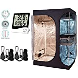 "Cheap BloomGrow Hydroponics 36""x24""x53"" 2-in-1 Indoor Grow Tent w/ Waterproof Floor Tray + 1 Pair Grow Light Hanger + Digital Indoor Thermometer Humidity Monitor Grow Tent Kit (36""x24""x53"" Kit)"