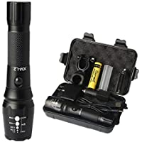 Goreit LED Military USB Rechargeable Waterproof Zoomable Flashlight for Camping Hiking Emergency (18650 Battery & Charger Included)