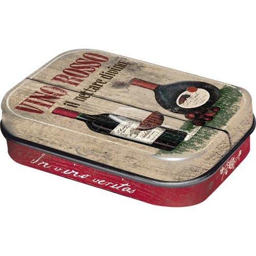 Nostalgic-Art - Bier & Spirituosen Vino Rosso - Pillendose - 4x6x1,6cm