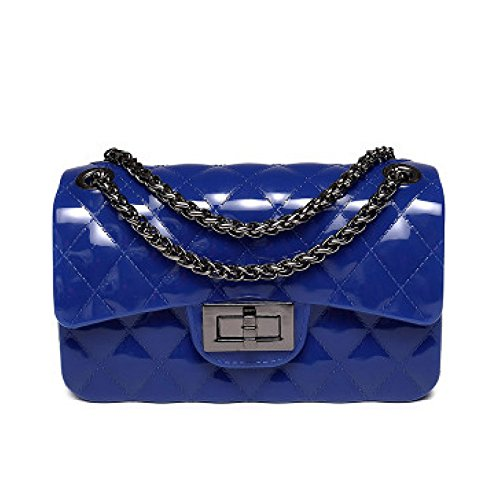 Xnrhh 2018 Fashionable Ladies Bag Jelly Bag Lingge Chain Shoulder Bag Dinner Classic Mini Translucent Candy-colored Shoulder Bag Pvc Waterproof Darkblue