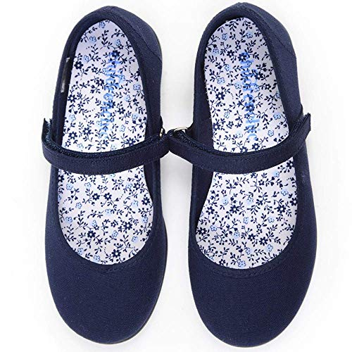 Childrenchic Mary Jane Flats with Hook and Loop Straps - Shoes for Girls (Canvas - Navy Blue, 25 M EU, 8.5-9 M US Toddler) ()
