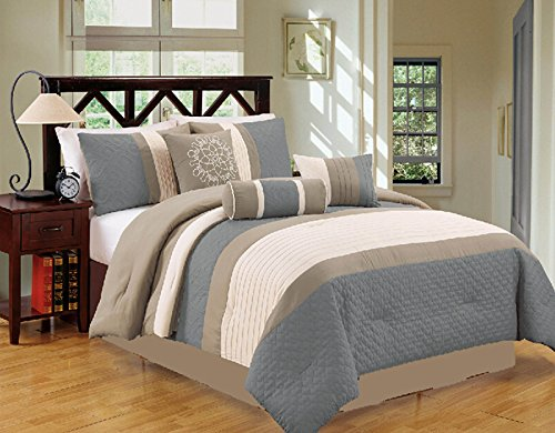Amazoncom Modern 7 Piece Bedding Spa Blue Grey White Pin Tuck