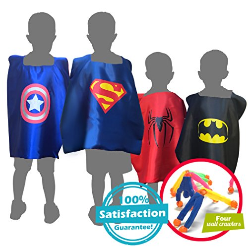 Cool Children's Superhero Kid Boys & Girls Dress Up Costume Set, 4 Capes & Masks (Themes For Dressing Up In Groups)