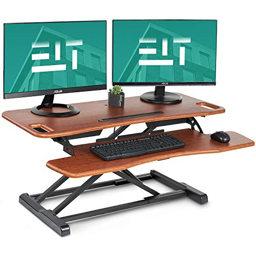 EleTab Height Adjustable Standing Desk Sit to Stand Gas Spring Riser Converter 37 Tabletop Workstation fits Dual Monitor Brown-nut