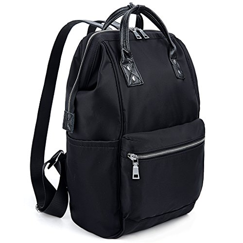 UTO Laptop Backpack Real Leather Handle Straps Oxford Waterproof Cloth Nylon Unisex Rucksack School College Bookbag Travel Bag Shoulder Purse Black