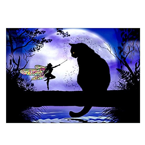 (Powerfulline Resin Diamond Painting Partial Drill Fairy Cat Silent Night Embroidery)