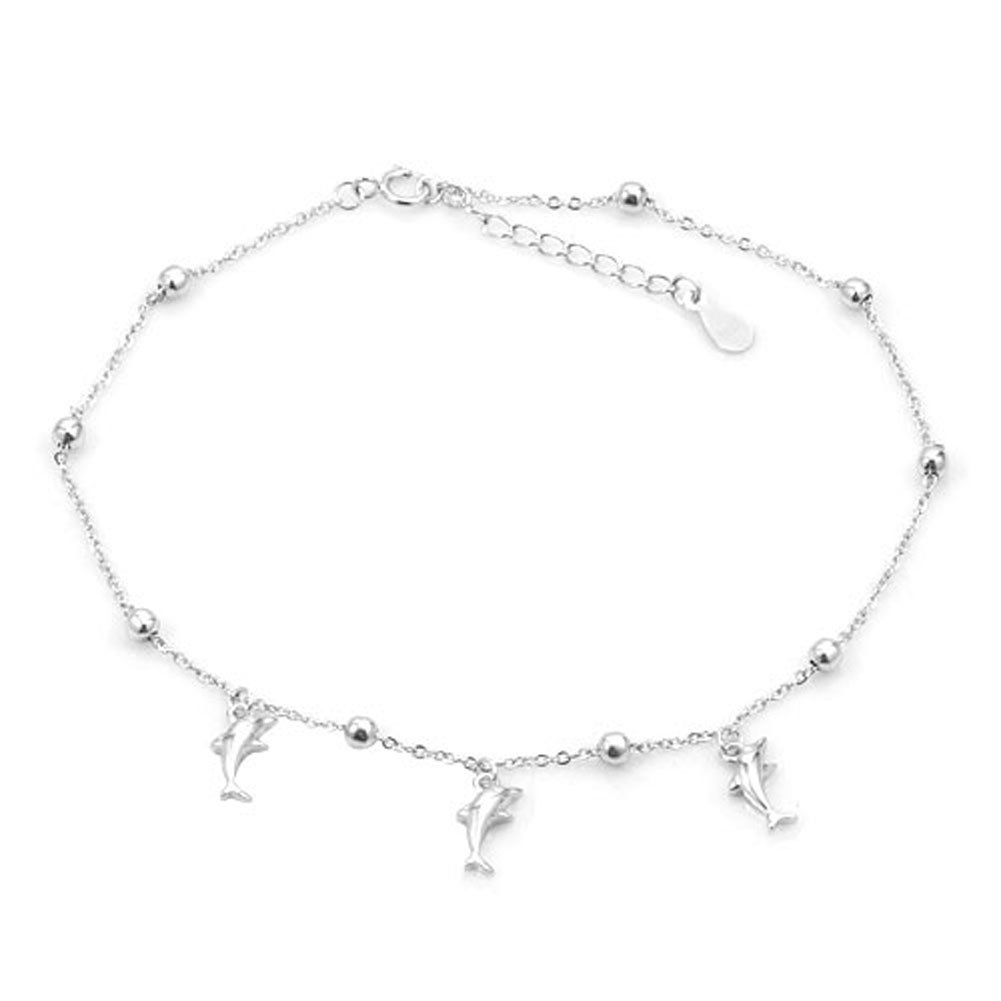 Mel Crouch 925 Sterling Silver Dolphin Lovers Anklets Beach Anklet Sandals Summer Jewelry Bracelets