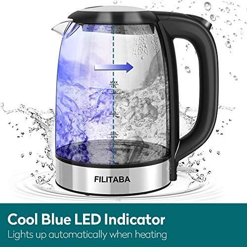 Bouilloire Électrique en Cristal, Bouilloire Électrique 1,7 L avec LED, Bouilloire Sans BPA avec Arrêt Automatique et Protection contre l'ébullition, Bouilloire de Chauffage Rapide